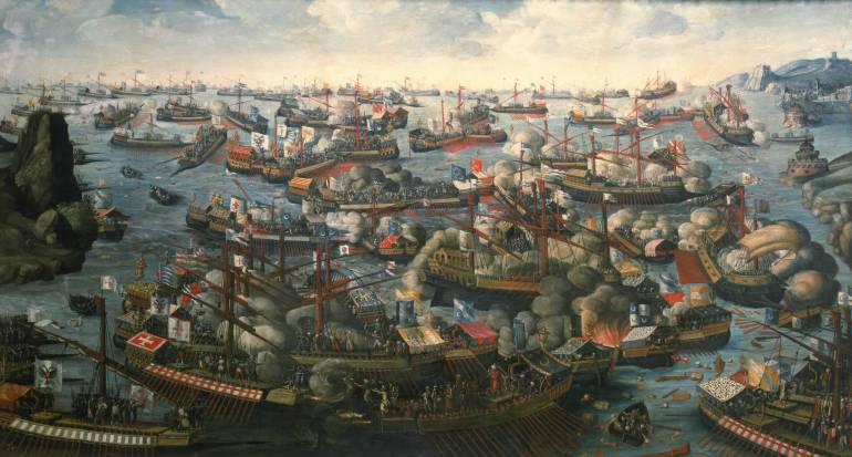 Painting of the Battle of Lepanto of 1571 - the last major galley on galley battle